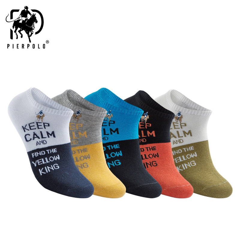 PIER POLO Cool English Letter Men Socks Boat Cotton Men Socks Brand Spring And Summer Colorful Fashion Socks For Male Wholesale