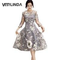 VESTLINDA Retro Vintage Dresses 50s 60s Rockabilly O Neck 3 4 Sleeve A Line Floral Print