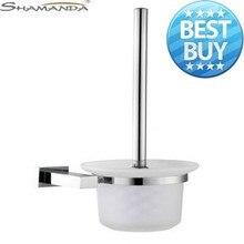 Livraison gratuite porte brosse wc solide Base de Construction Chrome terminer + givré coupe verre salle de bains Accessories-94004