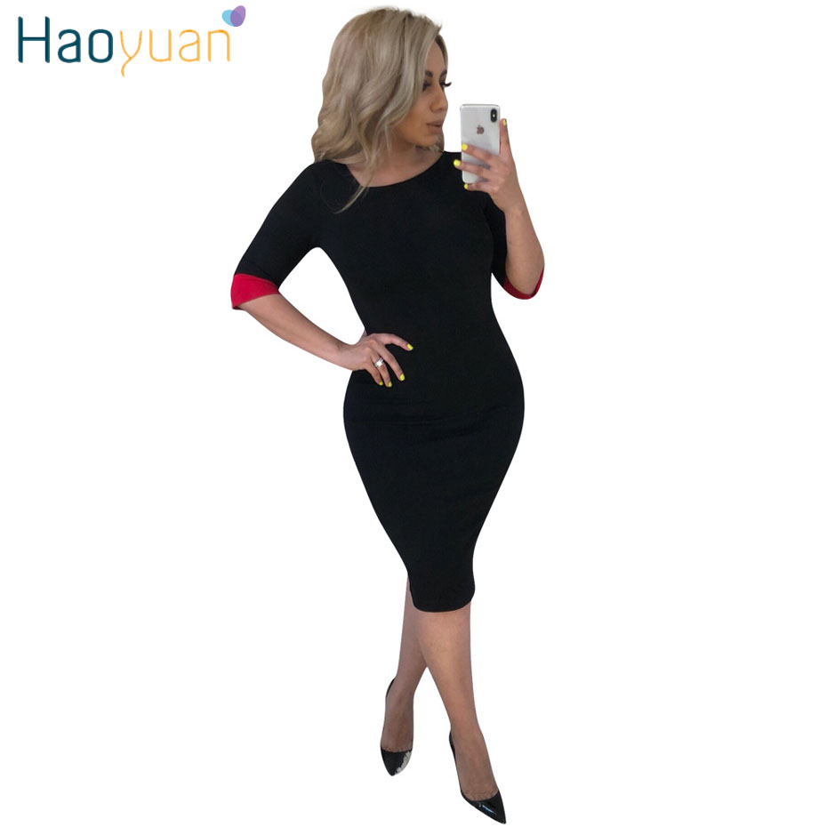 HAOYUAN Half Sleeve Patchwork Sexy Pencil Dress 2018 New Autumn Vestidos Casual Women Dresses Self Portrait Party Bodycon Dress