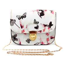 2017 Luxury Women Bags Brand Design Small Satchel Women bag Flower Butterfly Printed PU Leather Shoulder Bag Retro Crossbody Bag