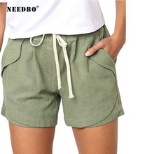 NEEDBO Summer Shorts For Women Hot Casual Sexy High Waist Elastic Beach Plus Size Cortos Mujer