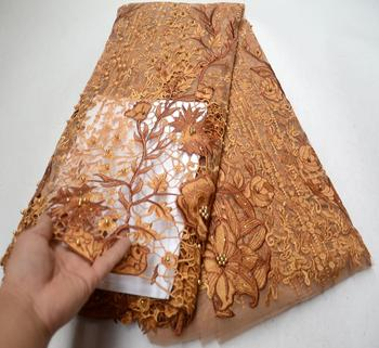 Latest 2019 Nigerian French Mech Lace Fabric Embroidered High Quality African Lace Fabric Gold Color Fabric For Party