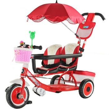 4967db7a3 Multifunción bebé doble triciclo bebé carrito de empuje niños bicicletas  doble asiento tres ruedas cochecito bicicleta paraguas coche 1-6Y