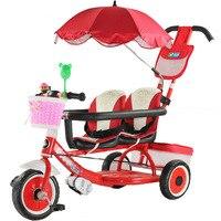 Multifunktions Baby Twin Dreirad Baby Push Trolley Kinder Bikes Doppel Sitz Drei Rad Kinderwagen Fahrrad Regenschirm Auto 1 6Y|Kinderwagen mit drei Rädern|   -