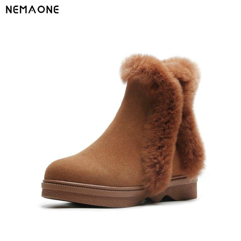NemaoNe Warm Fur Women Snow Boots Cute Suede Winter Shoes Fur ankle Boots Female Fashion Boots zipper Snow Casual Shoe winter boots fashion women boots shoes women casual ankle boots matte suede snow boots cotton warm platform shoes