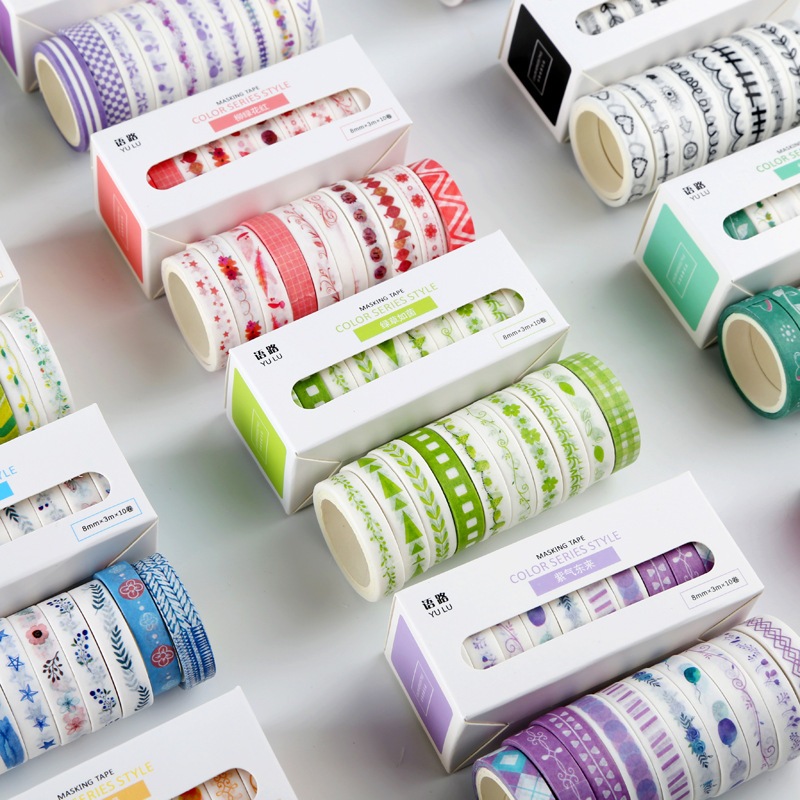 10pcs/lot Basic Color Series Decorative Adhesive Tape Masking Washi Tape DIY Scrapbooking Sticker Label Japanese Stationery