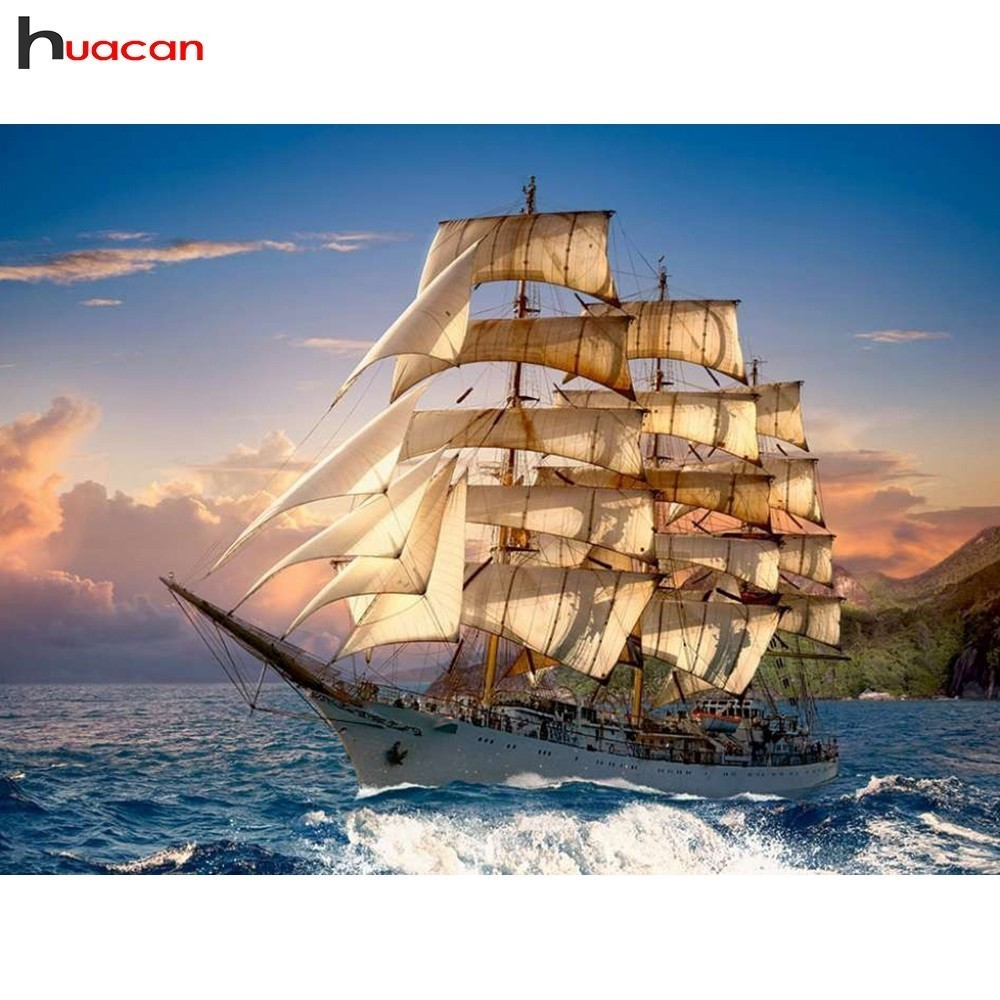 HUACAN Landscape Paint With Diamonds 5D Full Square/Round Drill Sea Decoration Home DIY Mosaic Diamond Embroidery SailboatHUACAN Landscape Paint With Diamonds 5D Full Square/Round Drill Sea Decoration Home DIY Mosaic Diamond Embroidery Sailboat
