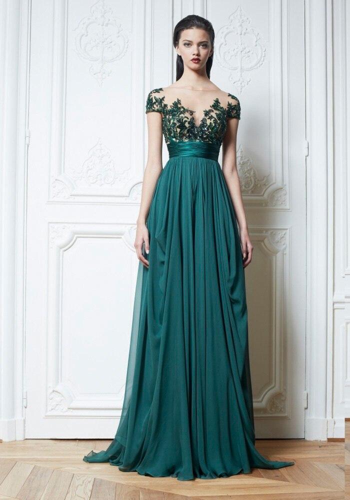 Green !! 2015 Short Sleeve Appliques A line Long Evening Dresses ...