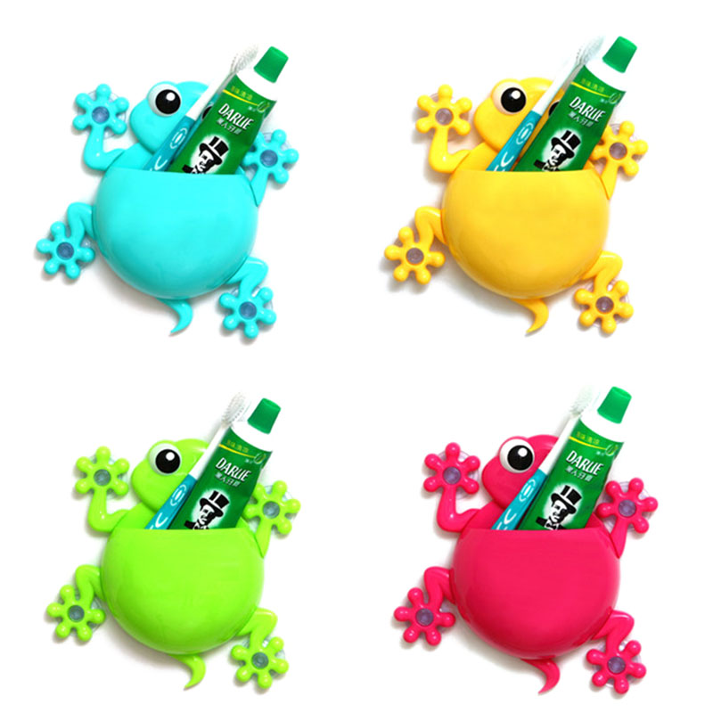 Bathroom Accessories Set Cartoon Gecko Toothpaste Toothbrush Holder Wall Sucker Hook 2 Pcs JQWS07 ...