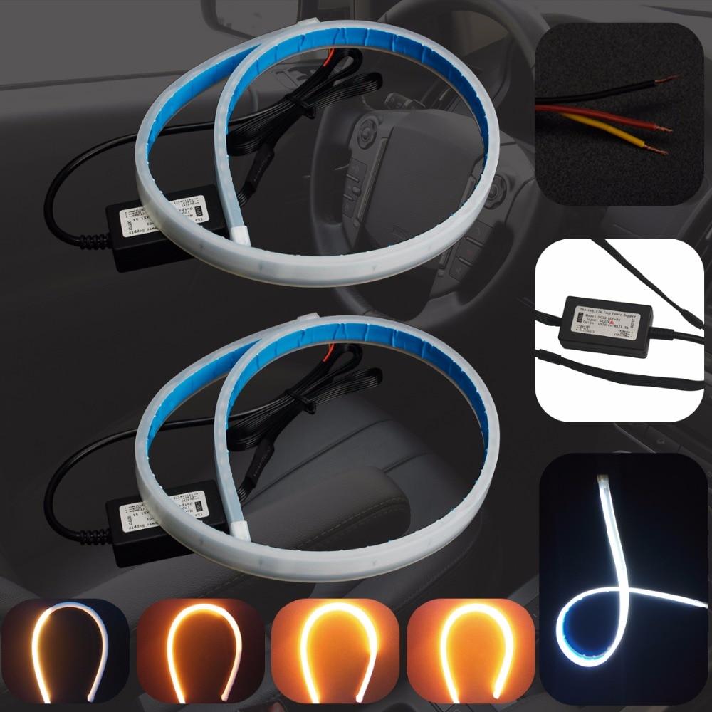 2pcs Car Daytime Running Light Angel Eye Flexible Following LED Strip DRL Fog Headlight Changeable Turn Signal Parking Lamp