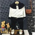 Korean children 2017 new spring boys handsome shirt + dot pants children all-match two suit free shipping