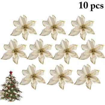 10 sztuk świąteczne kwiaty ozdoby na choinkę Xmas brokat wesele nowy rok sztuczna dekoracja w kwiaty Drop Shipping tanie i dobre opinie FunPa Flower Xmas Tree Ornament