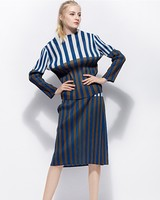 FREE SHIPPING Miyake fold fashion led word long sleeve slash neck T shirts + striped two piece skirts IN STOCK
