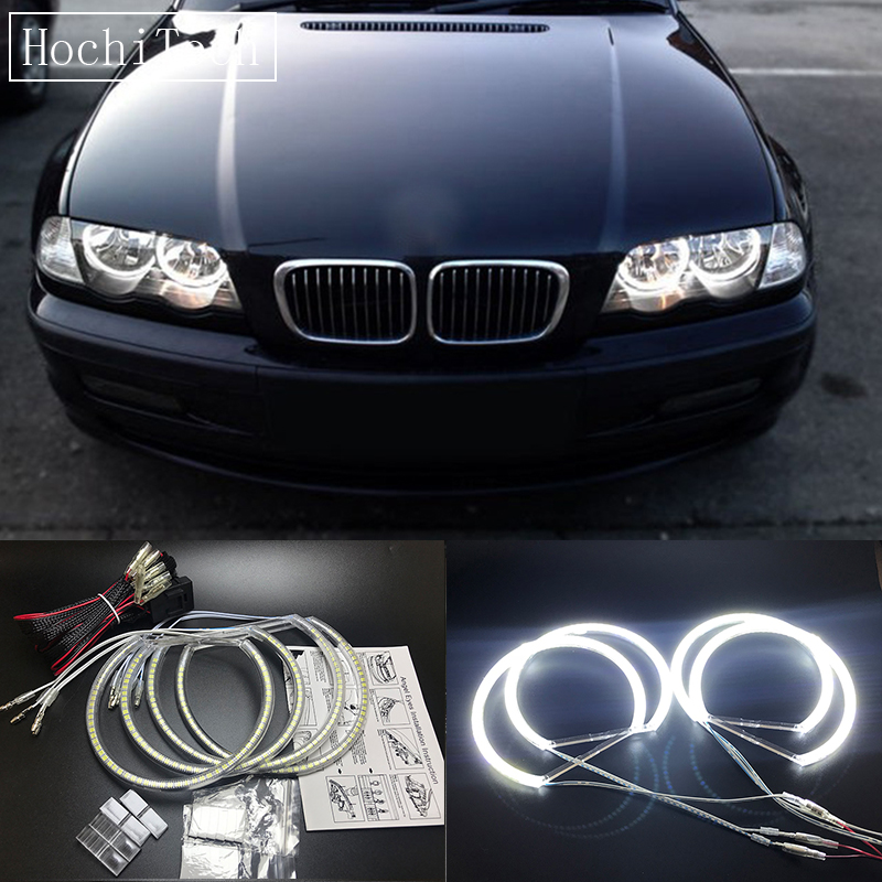 HochiTech 131mm+146mm Ultra bright SMD white LED angel eyes 2500LM halo ring kit day light for BMW E46 NON PROJECT Coupe Sedan 10000k pure white 3014 smd led angel eyes halo ring lighting kit for 2004 2006 bmw e46 3 series 325ci 330ci lci coupe