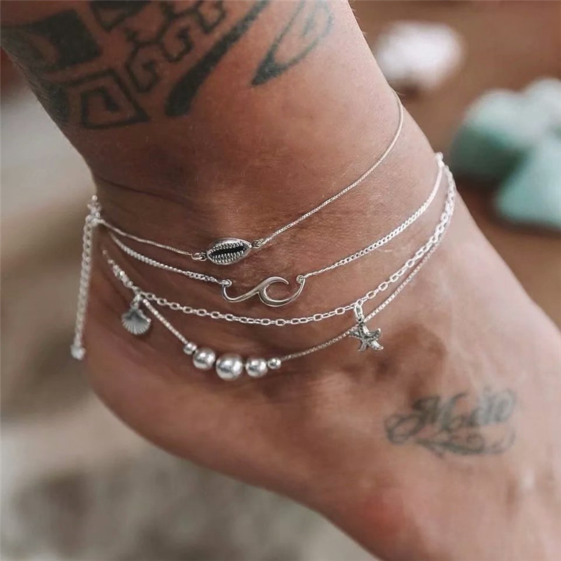 Boho Starfish Shell Silver Anklets For Women Ankle Bracelets On Leg Chain Wave Anklet Set Foot Jewelry Beach Holiday Accessories