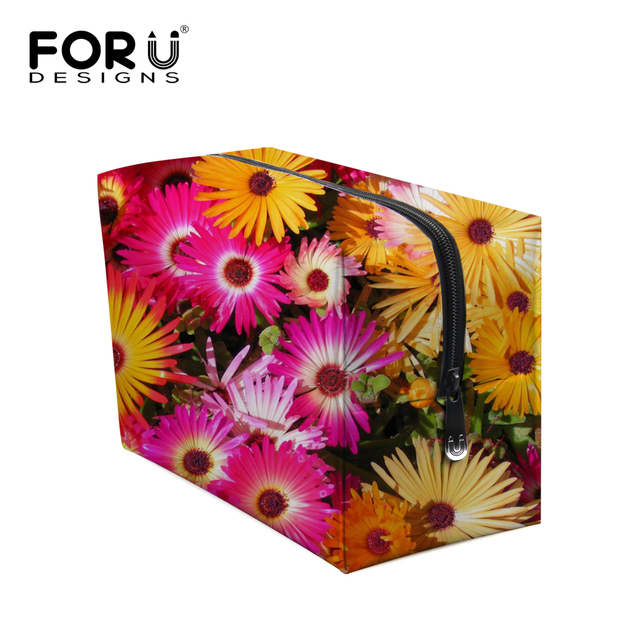 Big Size Women Make Up Bags Flower Floral Printed Zipper Cosmetic Case Simple Casual Girl Lady Pouch Storage Travel Organizer