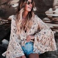 TEELYNN yellow Boho blouse Floral print blouses flare o neck long Sleeve Bohemia loose Hippie 2018 Vinatge autumn women blouses