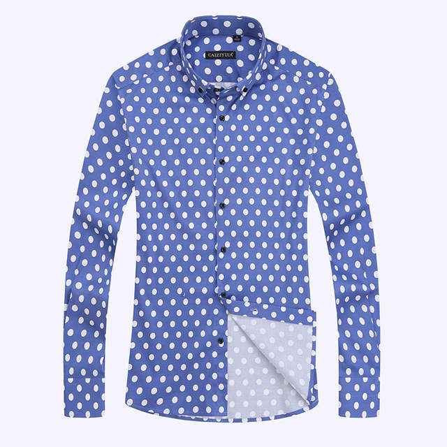 cc824367f45 Online Shop Polka Dot Men Casual Business Dress Shirt Brand Long Sleeve  Males Slim Fit Stylish Social Formal Shirt Mens Cotton Clothing