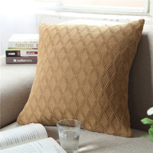 New Plaid Nordic Cushion Cover Knitted Pillow Cable Knit Decorate Pillows Cotton Coussin Cojines Sofa