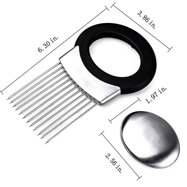 1 piece stainless steel easy cut onion holder