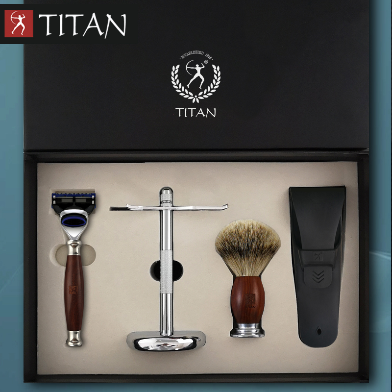 Titan men shaving baber 5 blade razor set in wood handle gift package razor