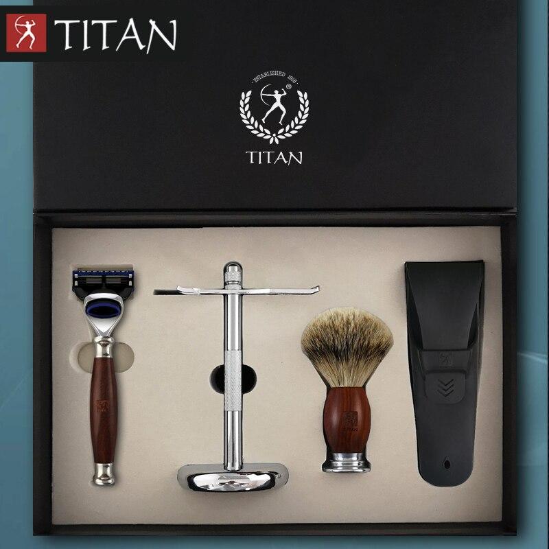 Rasiermesser Vornehm Titan Männer Rasieren Baber 5 Klinge Rasiermesser Set In Holz Griff Geschenk Paket Rasiermesser Verkaufsrabatt 50-70% Rasieren & Haarentfernung