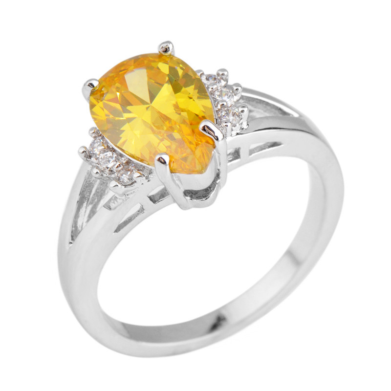 Yellow Stone Water Drop Jewelry Size 6 10 Women Men Ring Anel Aneis Wedding Band White Cz Gold Filled Engagement Rings In Bands From