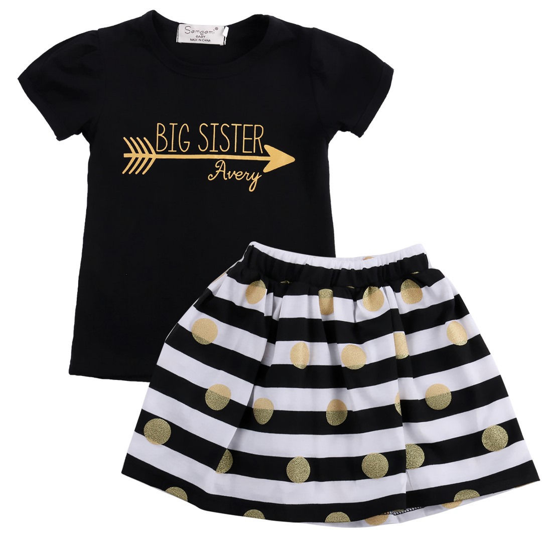 Newborn Kids Girls Clothes 2pcs sets Short Sleeve Tops T-Shirt+Striped Skirt Baby Girls Fashion cotton summer suits Outfits 2pcs children kids baby girls outfit sets chiffon t shirt tops shorts sleeveless summer outfits suit cute girls clothes sets