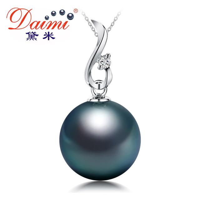 daimi pérola negra pingente, natural grande tahitian pearl pingente, genuíno 18k ouro branco pingente de diamante, o cliente recomendar