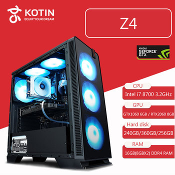 Z4 Intel i7 8700 3.2GHz Processor Gaming PC Desktop GTX1060/RTX2060 240GB 360GB 256GB SSD 3 Types 16GB RAM Computer RGB Fans