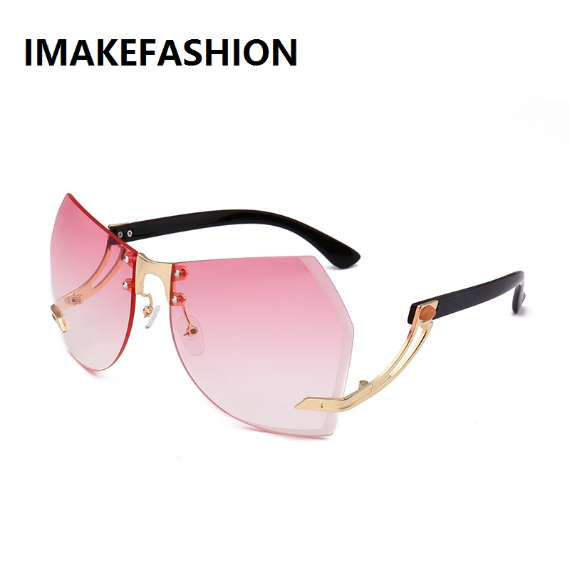 IMAKEFASHION Unique Cut Women Sunglasses Oversized Rimless Shades Upside Down Frame Goggle JWW247