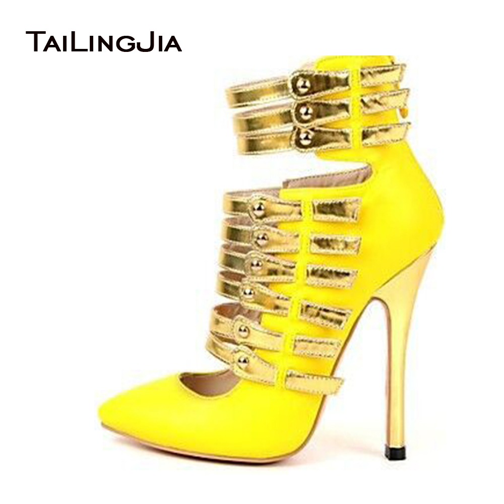2017 New Shoes Woman Pumps Gladiator Sandals Women High Heels Bright Yellow Sexy Rome Style Handmade Shoes US Size 4-15 2017 new ankle wrap rhinestone high heel shoes woman abnormal jeweled heels gladiator sandals women pvc padlock sandals shoes