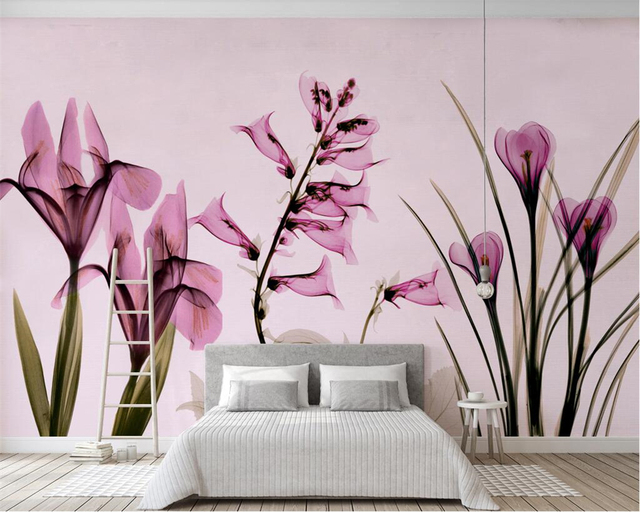 Beibehang Custom Wallpaper Nordic Minimalist Aesthetic Pink Floral Wall Living Room Bedroom Tv Sofa Background