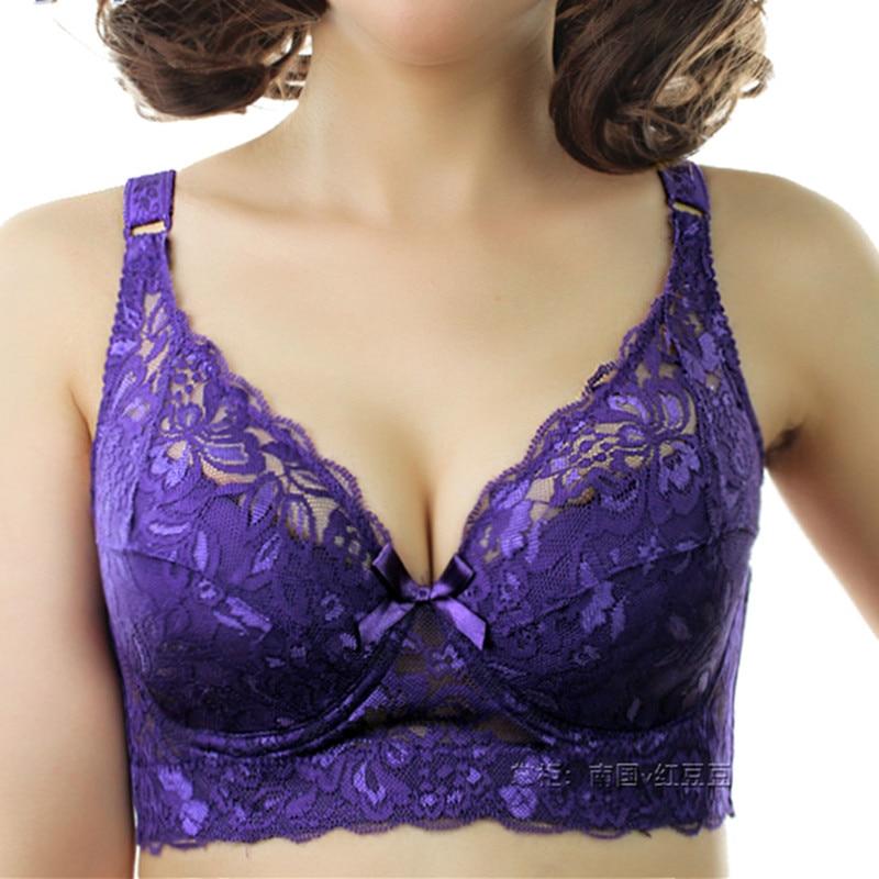 Xianqifen 40 90 46 Underwear Plus Large Size Underwire Top Bh Bralette Lace Sexy Women's Bra Intimates Deep V Brassiere C D Cup
