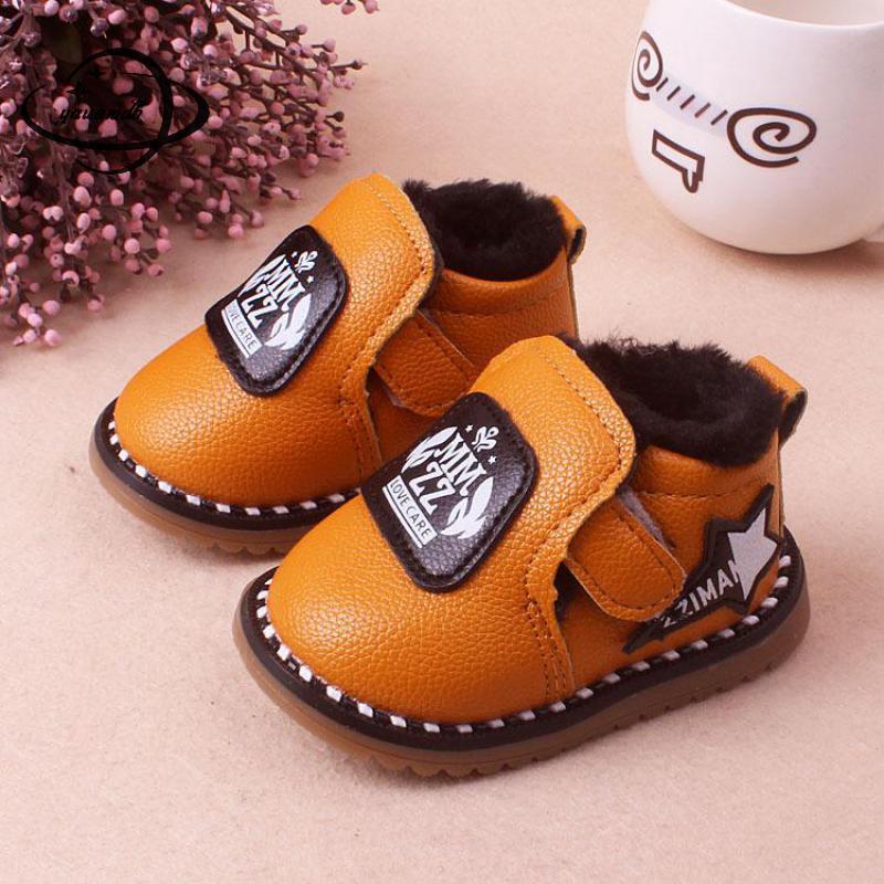 2a4e8e94a5c YAUAMDB baby lederen schoenen 2018 winter maat 15 19 meisjes jongens haak &  loop schoenen kinderen cartoon effen zuigeling tound teen schoenen y22 in  ...