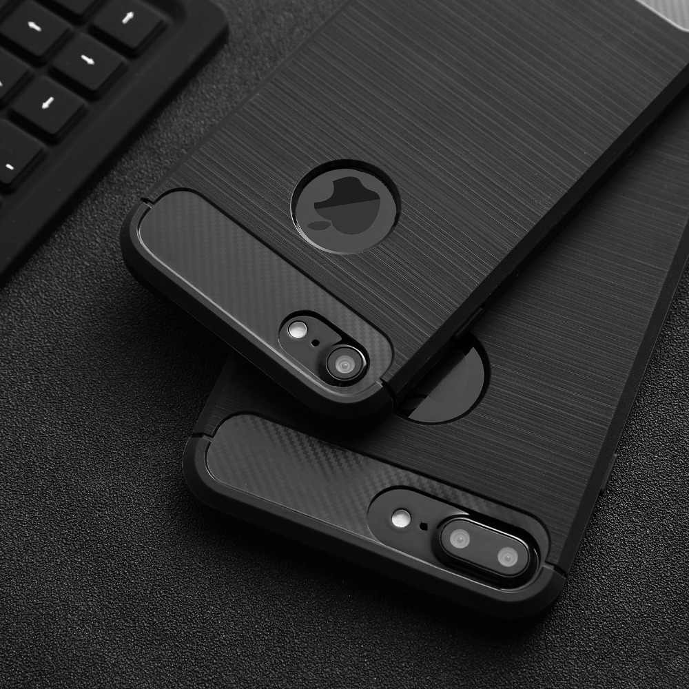 Luxury Shockproof Armor Phone Cases For iPhone 7 6 6s Plus 5 5s SE Case Carbon Fiber Soft TPU Silione Drawing Back Cover Shell