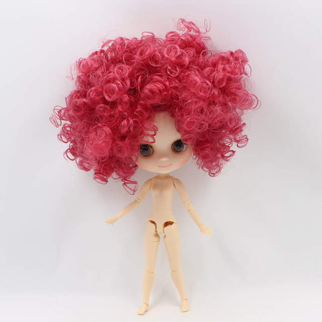 Middle Factory Nude Blyth Fashion Doll with Rose Red Afro-Hair 20cm ICY DIY Toys with gestures Free Shipping No.QE155
