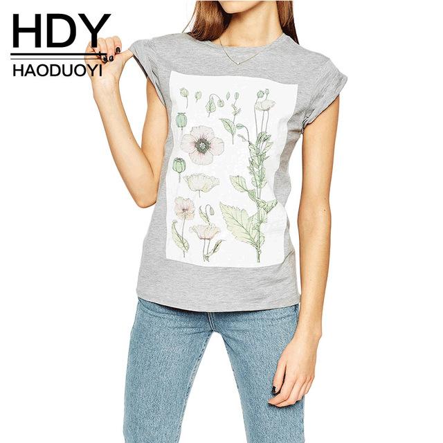 Hdy haoduoyi 2017 mujeres del verano de la manera de la impresión floral sólido gris de cuello redondo delgado de manga corta camisetas ocasionales flojas camiseta suave