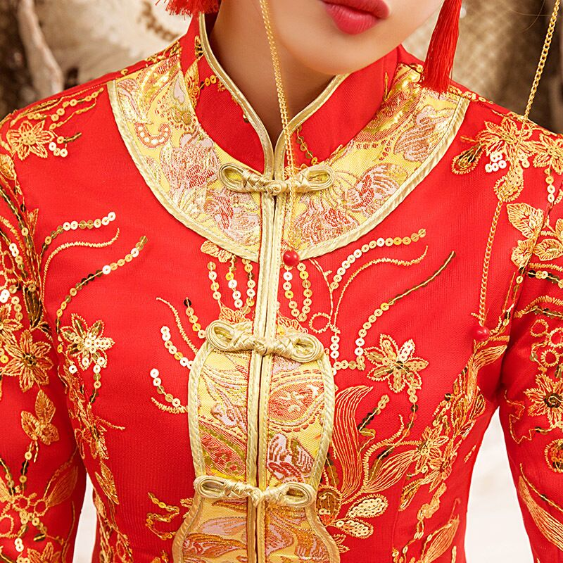 New Red traditional chinese wedding dress Qipao National Costume Womens Overseas Chinese Style Bride Embroidery Cheongsam S-XXL 8