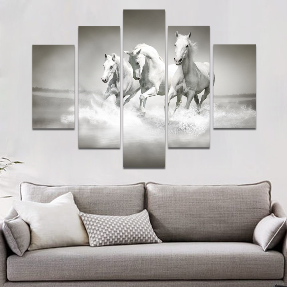 Unframed Canvas Animal Painting Black White Painting White Horse Picture Prints Wall Picture For Living Room Wall Art Decoration