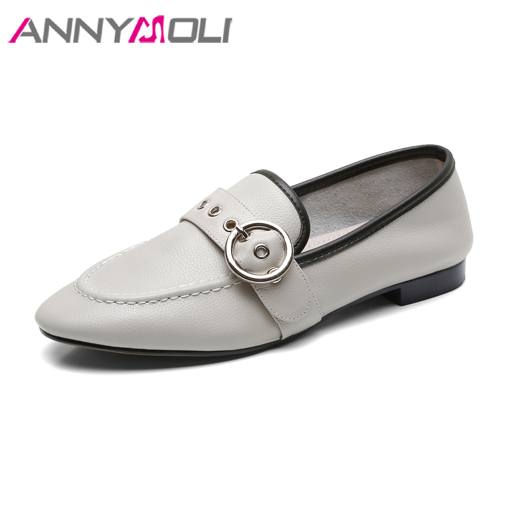 ANNYMOLI Genuine Leather Shoes Women Moccasins Loafers Flat Shoes Female Buckle Slip On Flats Leather Shoes 2018 Spring Pink cresfimix women cute spring summer slip on flat shoes with pearl female casual street flats lady fashion pointed toe shoes