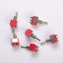 Square Red Miniature Toggle Switch Twisted Head Rocker High Quality Power Foot With Welding Terminal Durable