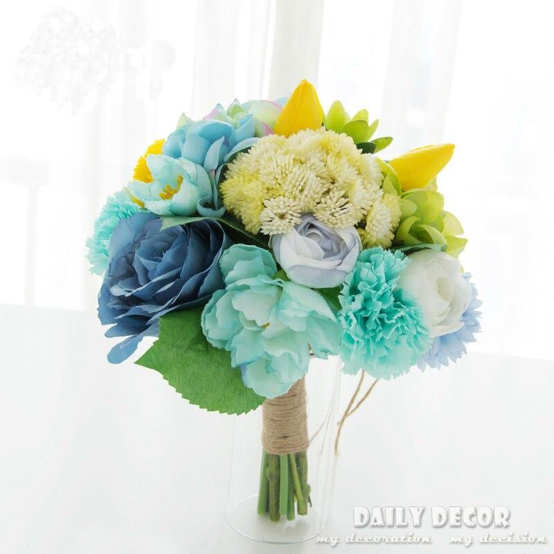 Nice Tiffany Artificial Succulent silk Flower Decorative Bride bouquet Bridal Wedding Bouquet Tiffany blue color Ramo De Novia