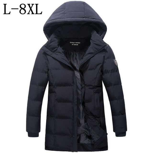 Special Offers Size 6XL 7XL 8XL 2018 New Fashion Winter Jacket Men Cotton Padded Long Thick Warm Casual Hooded High Quality Male Jacket Coat
