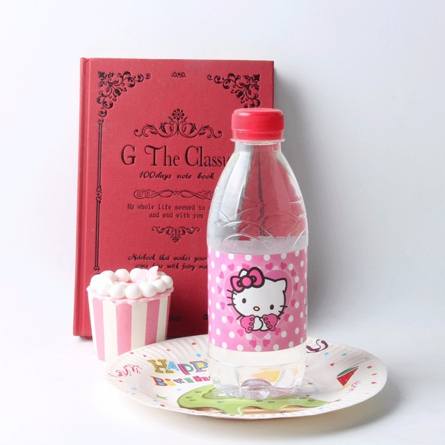 12pcs Lot Hello Kitty Bottle Label Kids Birthday Party Decoration Trolls Water