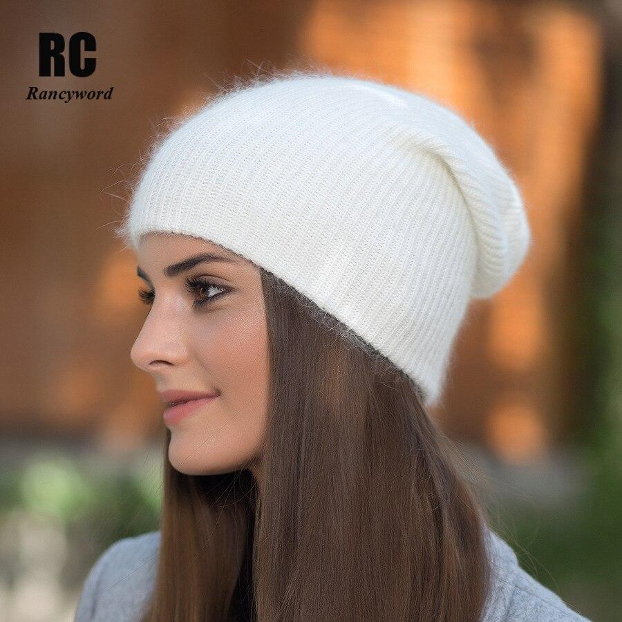 [Rancyword] Hohe Qualität Winter Hüte Für Frauen Kaschmir Beanies Ladise Gestrickte Wolle Skullies Kappe Angora Pompom Gorros RC1226