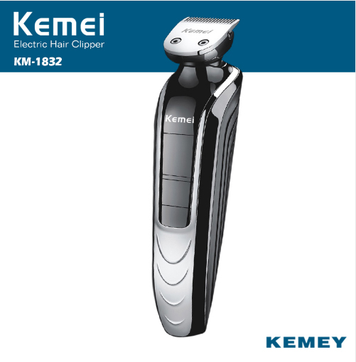 KM 1832 quality Waterproof Electric trimmer hair clipper trimer shaver beard trimmer nose rechargeable kemei cutting