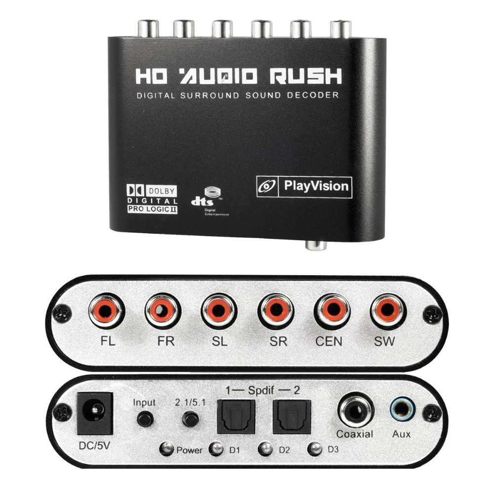 5.1 Audio Rush Digital Sound Decoder Converter - Optical SPDIF/ Coaxial Dolby AC3 DTS stereo(R/L) to 5.1CH Analog Audio