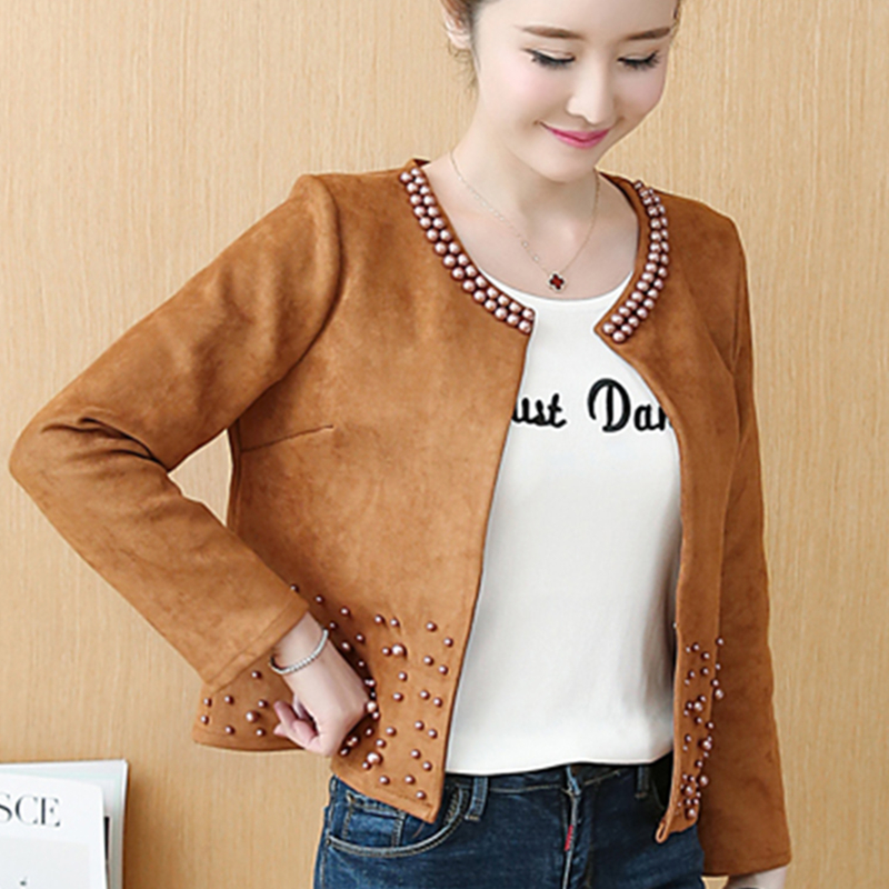 Deer Leather   Jacket   Women Plus Size 4XL   Basic   Coat Rivet O-Neck Short Slim   Jackets   Feminina Open Stitch Spring Casual Thin Coats